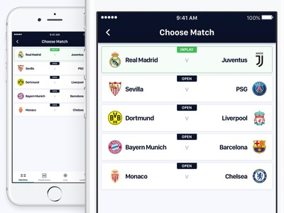 Match Selector ux ui soccer iphone ios gambling football design betting bet app