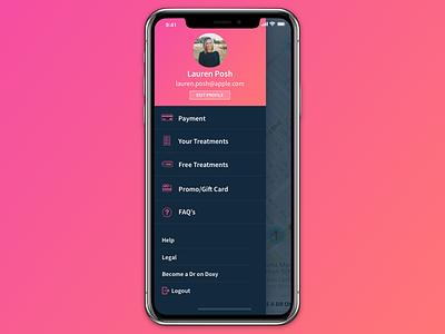 Slide Out Menu gradient ux ui slide out slide menu iphone x app iphone ios