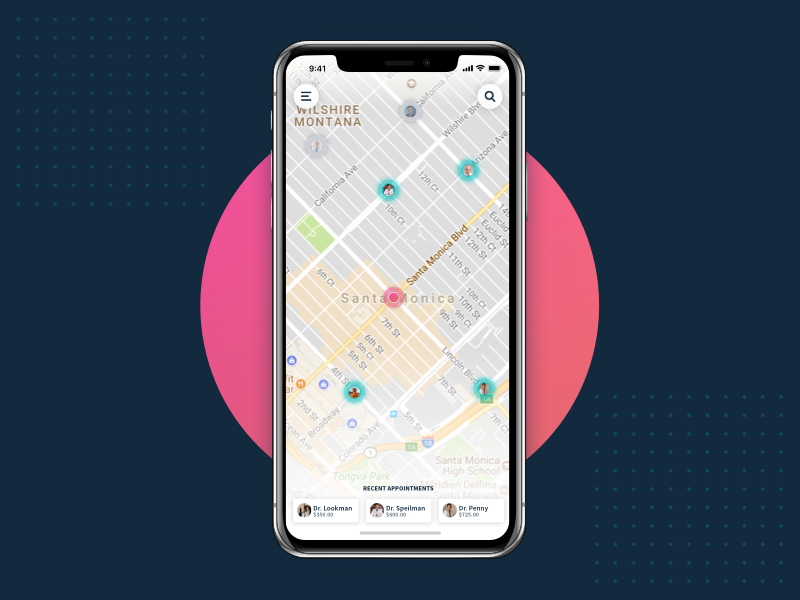 Map View ux ui gradient iphone x iphone map view map medical dr application app ios