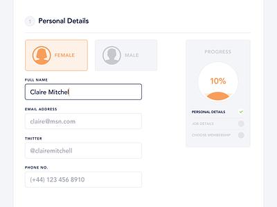 Personal Details Form minimal clean design progress website web interface job input ux ui form