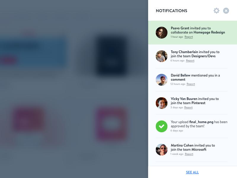 Slide Out Notification Menu clean application web app web slide out menu design ui ux notifications