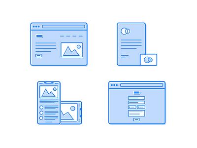 Portfolio Service Icons mobile branding ux ui design minimal clean border outline icons icon