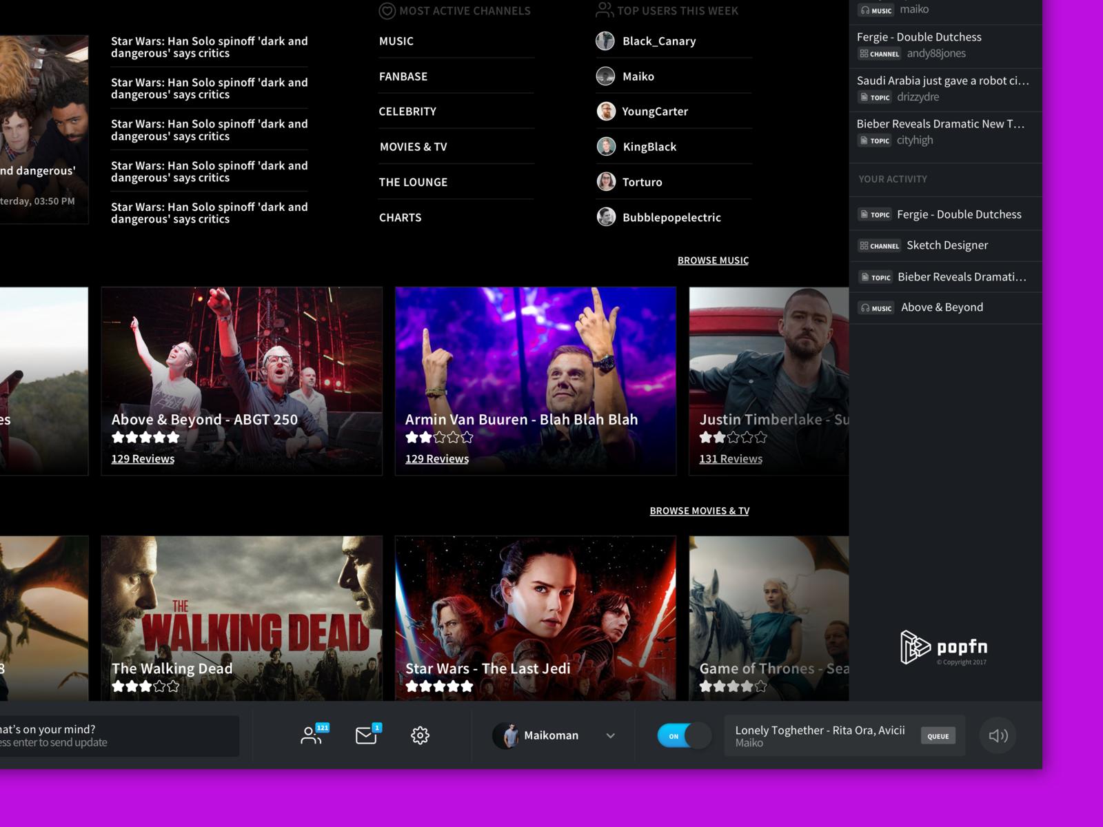 Media Portal Design ux player music minimal uidesign dark clean webapp web app ui
