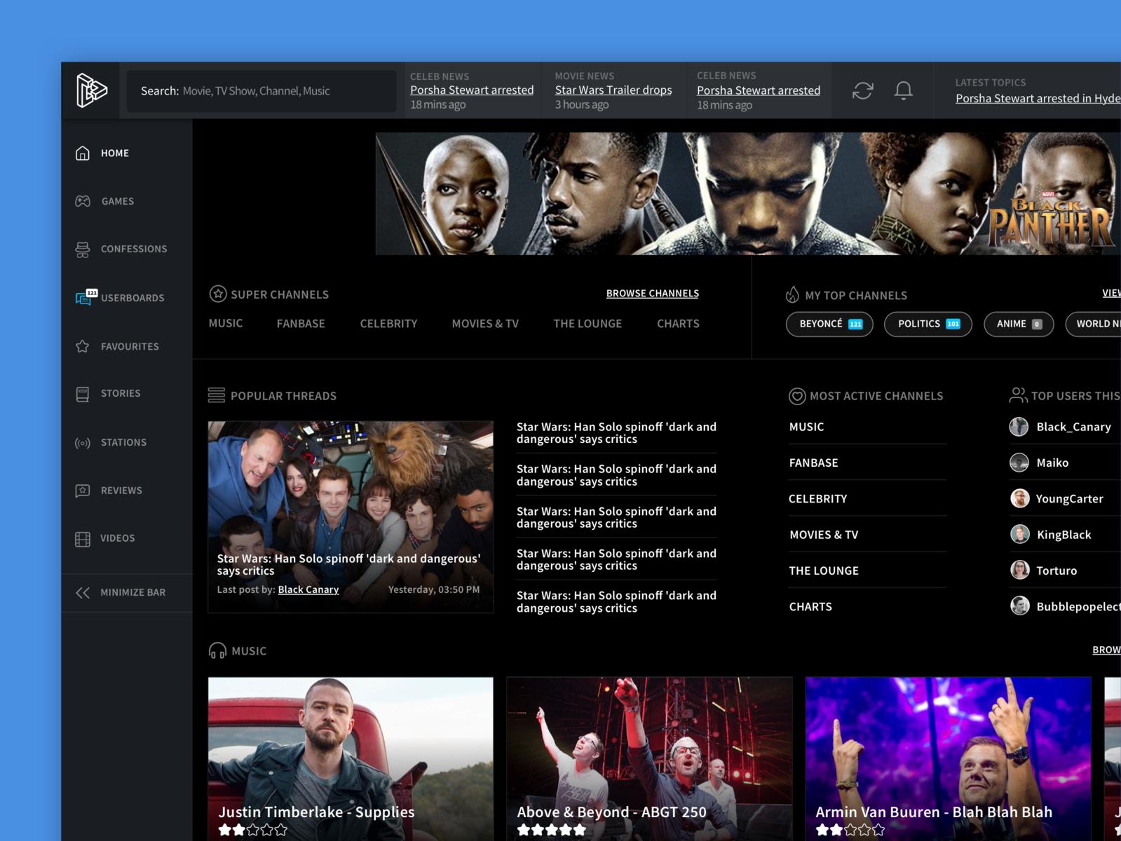 Media Portal Design sidebar news website ux media player dark minimal clean web app app ui