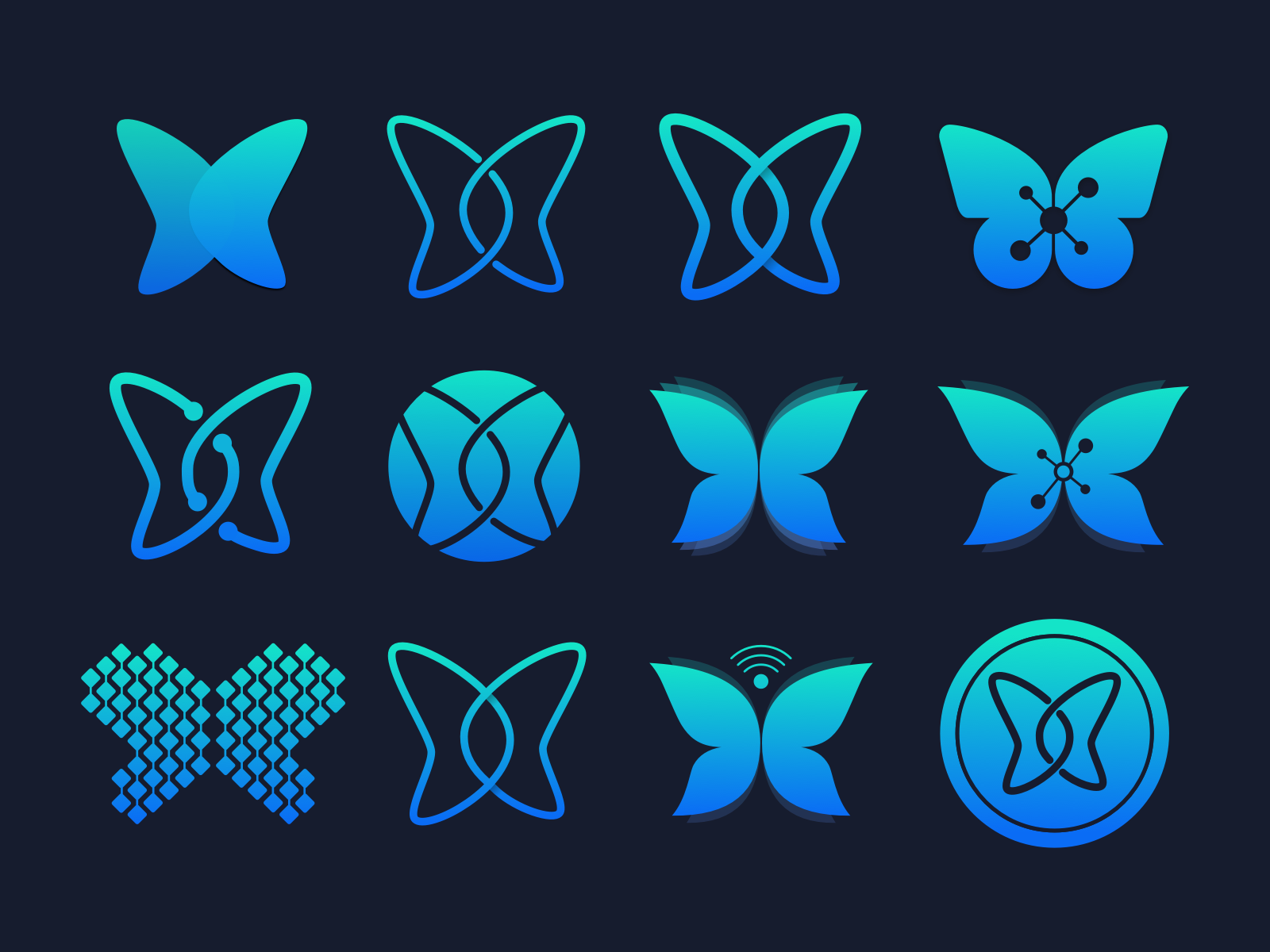 Buttrfly Concepts identity illustration mark icons icon emblem butterfly gradient branding brand logos logo sketch