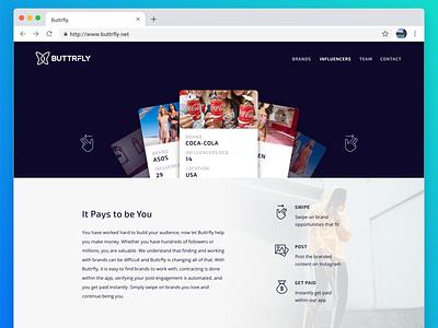 Influencer Page website web ux ui ui-ux landing page design landing page influencer gradient clean design blockchain block chain