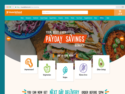 Musclefood redesign ecommerce store food typography web website design illustration icon ux ui