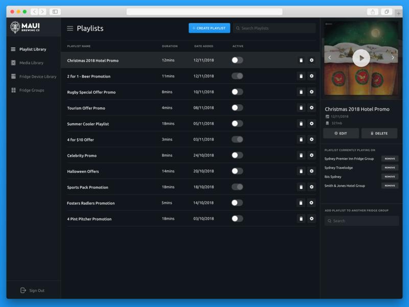 Bar Fridge Playlist Library application clean ux ui video media library playlist dark theme dark app dark website web