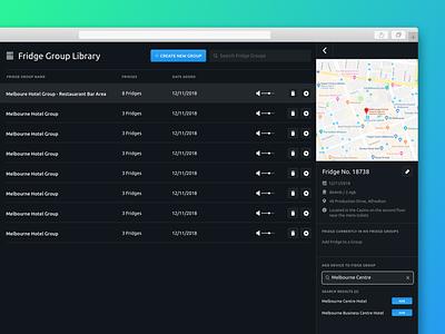 Manage Fridge Groups search settings volume manage edit info map sidebar web website application clean ux design app ui