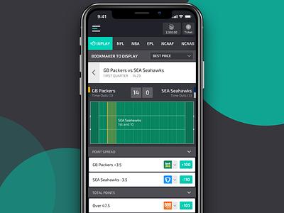 Inplay Betting Screen sports betting sports app inplay blockchain sports bet gambling iphone application app ios ux ui