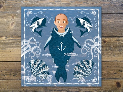 Nautical Birthday Card fishing men with a fish body sea nautical