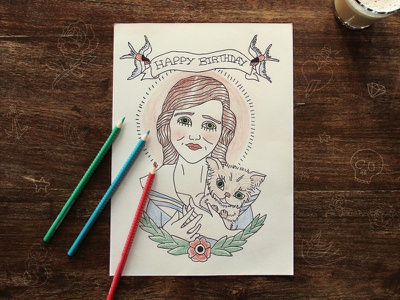 Old School tattoo inspired birthday card tattoo old school birthday card cat swallow illustration
