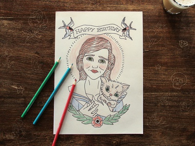 Old School tattoo inspired birthday card