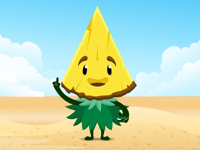 Pineapple character comic fruit desert ananas pineapple illustrator