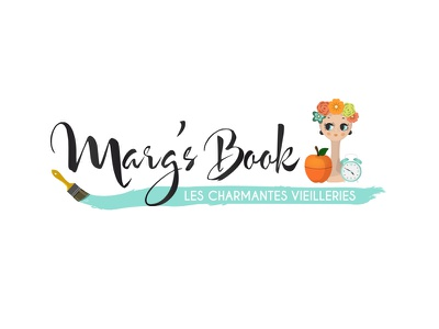 New logo for the French blog : Marg's Book brush alarm clock apple ice bucket margs book margsbook twiggy vintage vector illustrator illustration logo