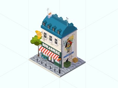 French Boulangerie baguette croissant biscuit france illustration bakery isometric building paris second world war ww2 boulangerie