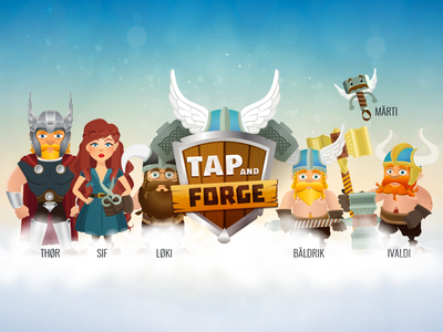Tap'n'Forge Mobile Game Characters logo illustration hammer characters medieval north viking tap tap thor game mobile tapnforge