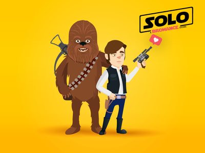 Solo : A Bromance Story characters george lucas wookie guerre des étoiles illustration love blaster chewbacca han solo bromance star wars starwars