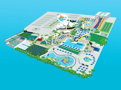 Yamit - water park map paint art design sketch map