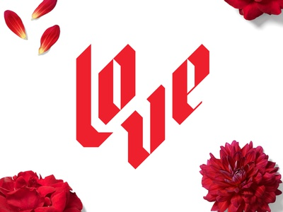 Love clean vector lettering typography illustration colorful logotype design type