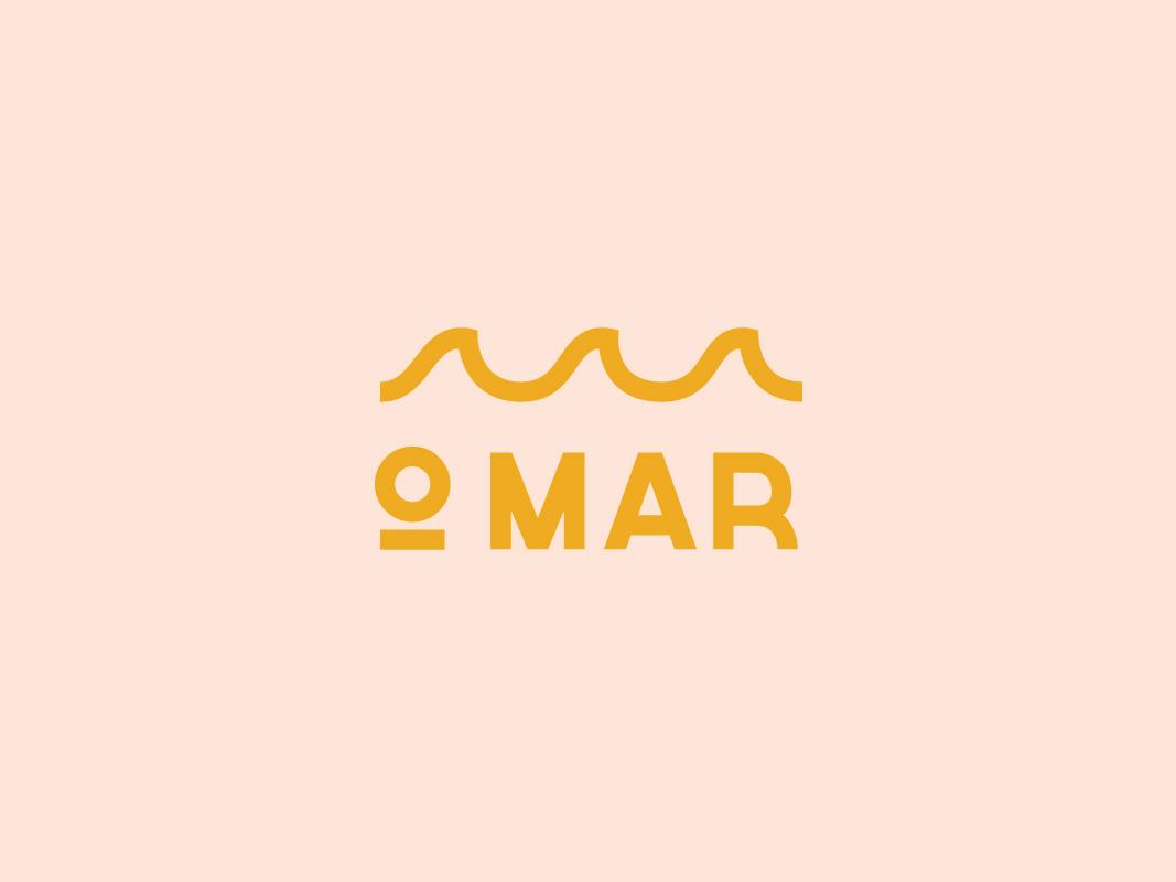 O Mar pt. II badge identity restaurant portuguese seafood wave ocean typography logotype branding brand lettering illustration design logo
