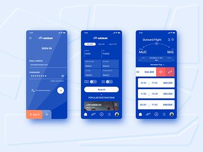 Concept Flight App for Aegean Airlines branding 2020 trend colour design ux ui ticket login 2020 booking flight booking greek airlines minimal mockup screens flight app flight
