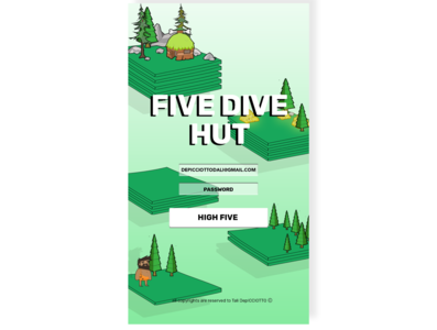FIVE DIVE HUT game game design game art illustration logo web ux minimal art app ui design branding