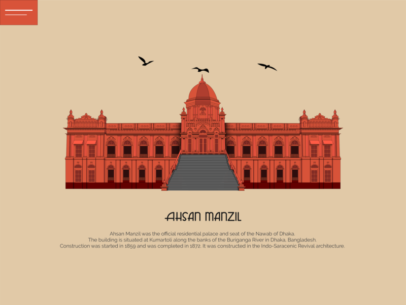 Ahsan Manzil drawing fort monument vector design building illustration architechture