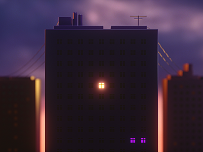 Morning Star Opening motion sky octane cinema4d window house city