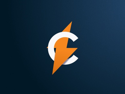 C avatar logo flash orange lightning