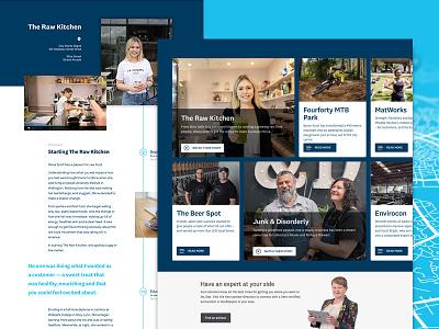 Customer Stories webflow xero blue editorial timeline card tile grid