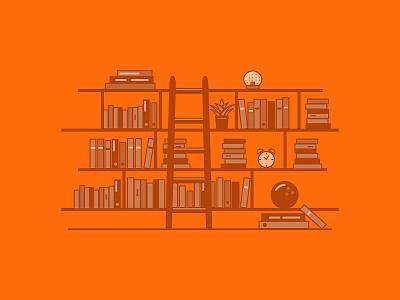 Library xero orange ladder shelves education library books