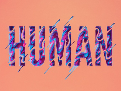 Human paper layered typography papercut lettering blobby pink human