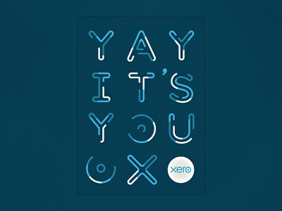 Yay! poster card you blue stripes outline pipe lines lettering xero