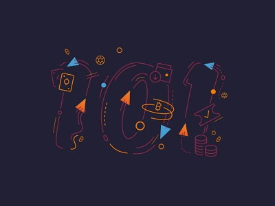 101 icons orange lineart illustration gambling betting bitcoin basics 101