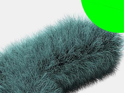 Teaser hairy render 3d neon green neon