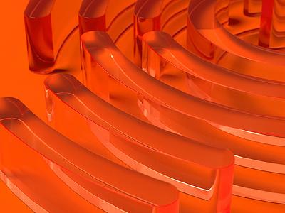 Work in progress 3d glass orange logo
