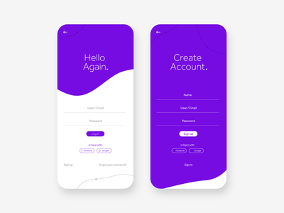 Log in / Sign up UI
