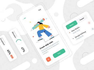 Mobile App Interface mobile blank ux illustration app ui lists design app design card