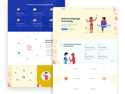 Natural Language Processing Concept pattern saas design software design saas 2020 trend colorful illustration data science machine learning ai artificial intelligence