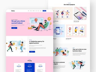 Delsa- Digital Agency Landing Page saas 2020 trend layout exploration illustration saas design it services software agency creative digital agency