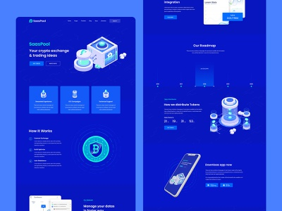 Saaspool- Cryptocurrency Landing Page clean ui saas colorful 3d isometric dark ui 2020 trend layout exploration crypto wallet crypto exchange crypto crypto currency
