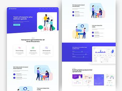 Saaspool- Startup saas design 2020 trend adobe xd landing saas agency startup