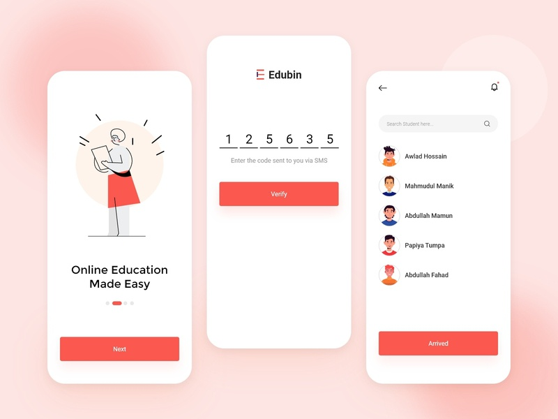 Education Mobile App 2020 trend colorful ui ux mobile app app meeting video conference online education education
