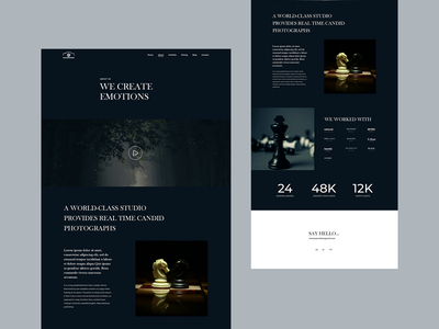 Photography Layout agency layout exploration 2020 trend dark studio photography photographer creative