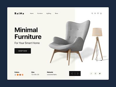 Minimal Furniture Landing Page adobe xd 2020 trend ui ux design website landing interior design furniture concept sofa chair