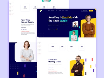 Movement- Landing Page trending layout exploration clean ui 2020 trend colorful ux ui layout variation landing page