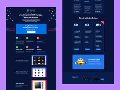 LTD Sells Landing page design for Darklup landing page plugin wordpress dark mode wordpress dark mode darklup dark mode dark 2021 trend