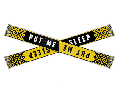 Nihilist scarves live fast die now clothing typography font black stripes yellow sleep euthanasia death scarf football