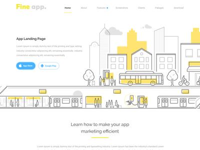 Fine App Landing Page discover branding illustration flat design redesign ux  ui ux landing page layout